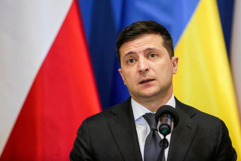 Ukrainian President Zelenskiy meets with his Polish counterpart Duda in Oswiecim