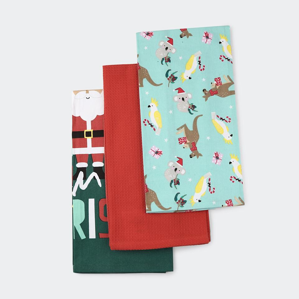 Kmart Christmas-themed tea towels