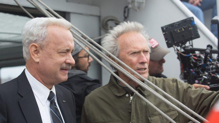 Tom Hanks and Clint Eastwood on the set of Sully. (Photo: Warner Bros.)
