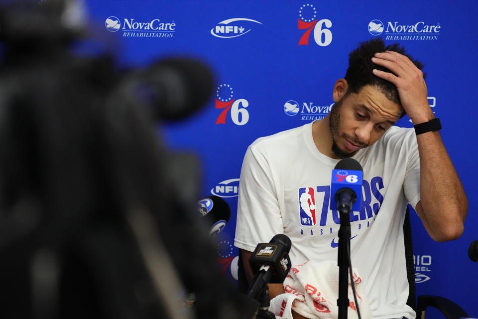 Philadelphia 76ers' Seth Curry pauses white speaking with the media at the team's NBA basketball practice facility, Wednesday, Oct. 13, 2021, in Camden, N.J. (AP Photo/Matt Slocum)