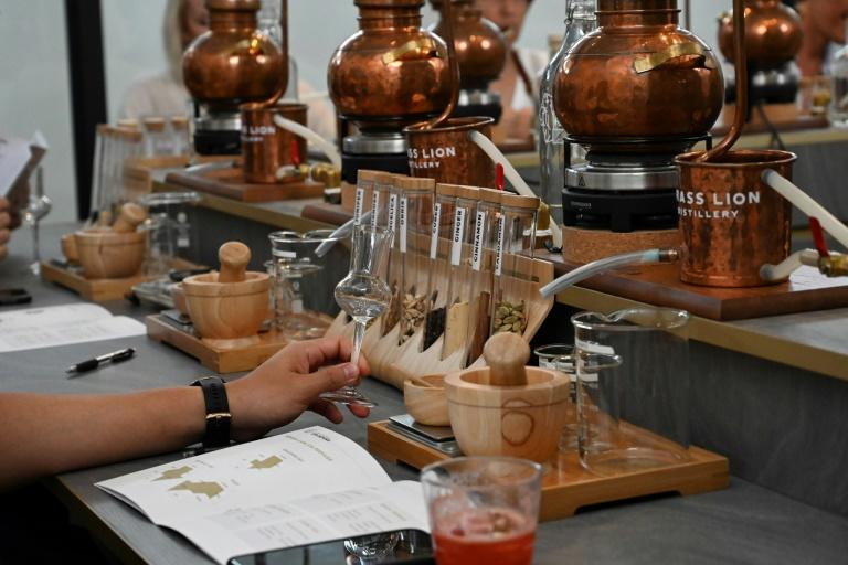 In a Singapore distillery, the smell of pine, citrus and flowers fills the air as students crush juniper berries, blending them with their own choice of ingredients to make custom gin with an Asian twist (AFP Photo/Roslan RAHMAN)