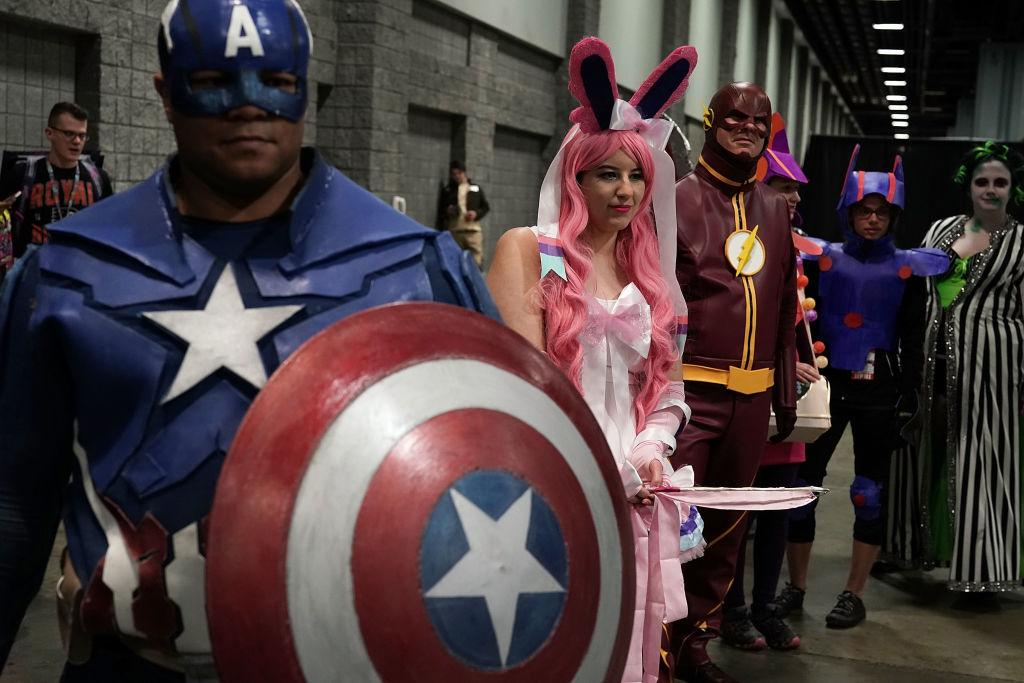 <p>A group of cosplayers participate in a costume contest during Awesome Con! 2018 March 30, 2018 in Washington, DC. Awesome Con!, an annual comic book convention, is held at Walter E. Washington Convention Center from March 30 – April 1. Photo from Alex Wong/Getty Images. </p>