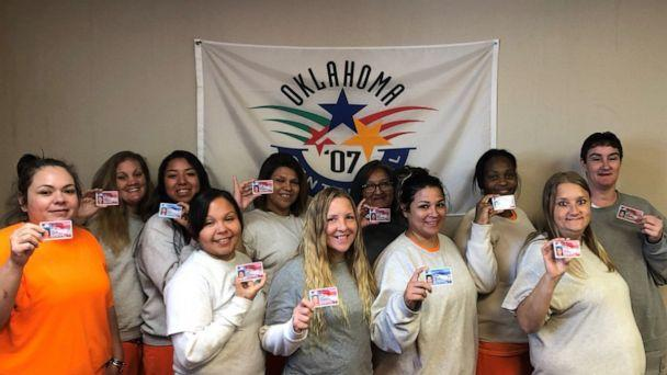 PHOTO: The Oklahoma Department of Corrections posted this picture of some women that will be discharged As part of a new law with ID cards. (@OklaDOC/Twitter)