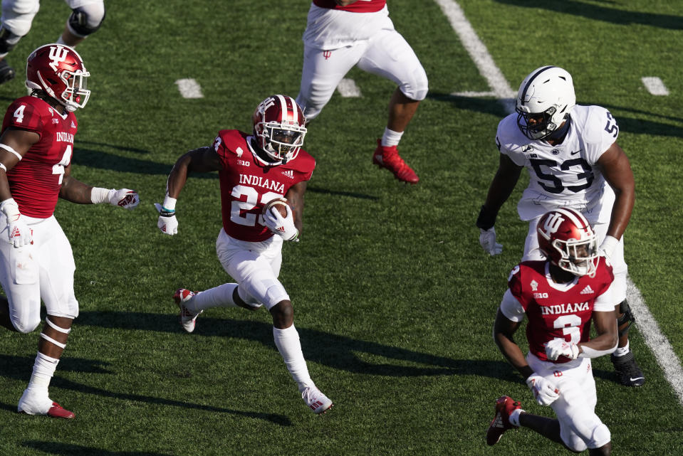 Indiana's Jaylin Williams (23) runs back in interception during the first half of an NCCAA college football game against Penn State, Saturday, Oct. 24, 2020, in Bloomington, Ind. (AP Photo/Darron Cummings)