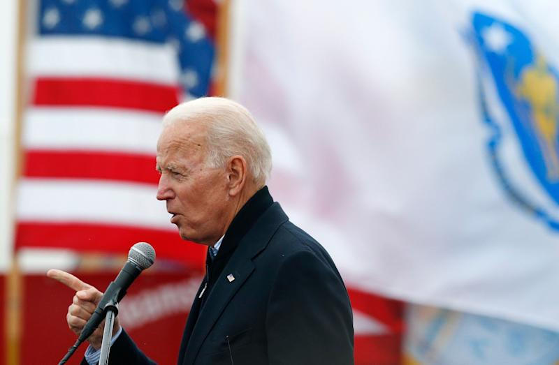 FILE - In this April 18, 2019, file photo, former vice president Joe Biden speaks at a rally in support of striking Stop & Shop workers in Boston. (AP Photo/Michael Dwyer, File)