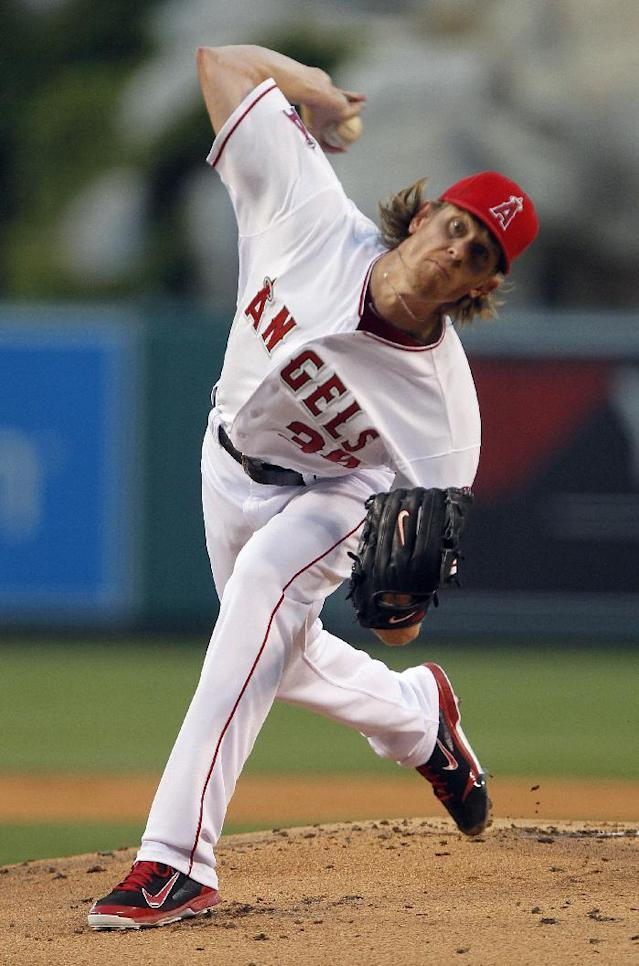 Los Angeles Angels starting pitcher Jered Weaver throws to the Cleveland Indians in the first inning of a baseball game Tuesday, April 29, 2014, in Anaheim, Calif. (AP Photo/Alex Gallardo)