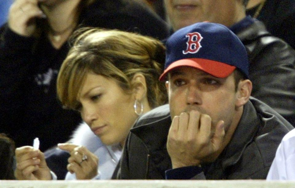<p>Lopez and Affleck attend the Anaheim Angels game against the Boston Red Sox on April 27, 2003 at Edison Field in Anaheim.</p>