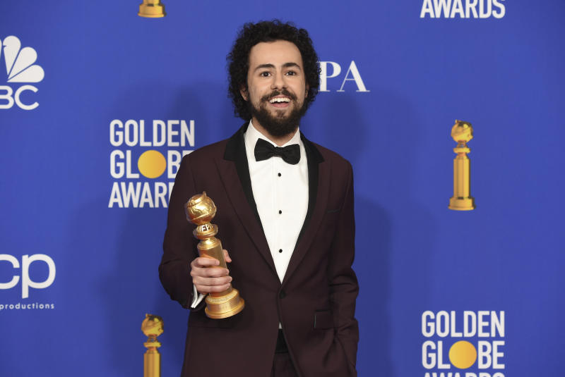 "Ramy Youssef poses in the press room with the award for best performance by an actor in a television series, musical or comedy, for ""Ramy"" at the 77th annual Golden Globe Awards at the Beverly Hilton Hotel on Sunday, Jan. 5, 2020, in Beverly Hills, Calif. (AP Photo/Chris Pizzello)"
