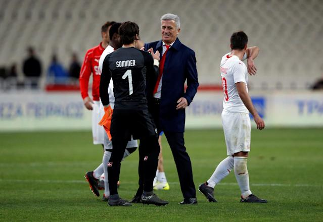 Soccer Football - International Friendly - Greece vs Switzerland - Athens Olympic Stadium, Athens, Greece - March 23, 2018 Switzerland coach Vladimir Petkovic celebrates after the match with Yann Sommer REUTERS/Alkis Konstantinidis
