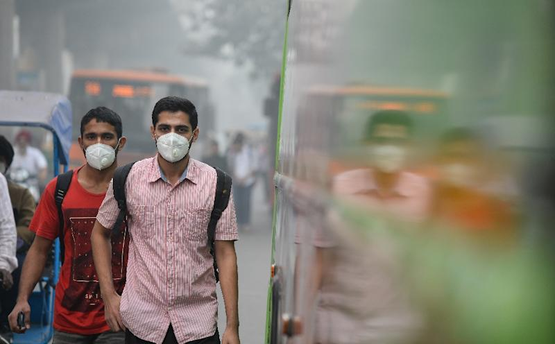 Delhi's smog peaks from October to February, routinely exceeding WHO recommendations for PM2.5 -- tiny and harmful airborne particles -- and some days registers levels more than 20 times safe limits (AFP Photo/ SAJJAD HUSSAIN)