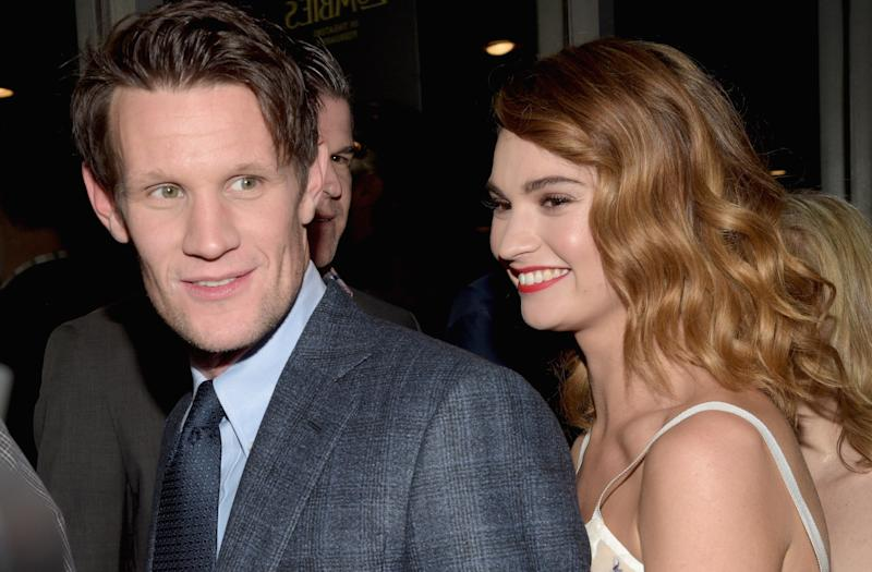Matt Smith y Lily James. (Foto: Jason Kempin / Getty Images)