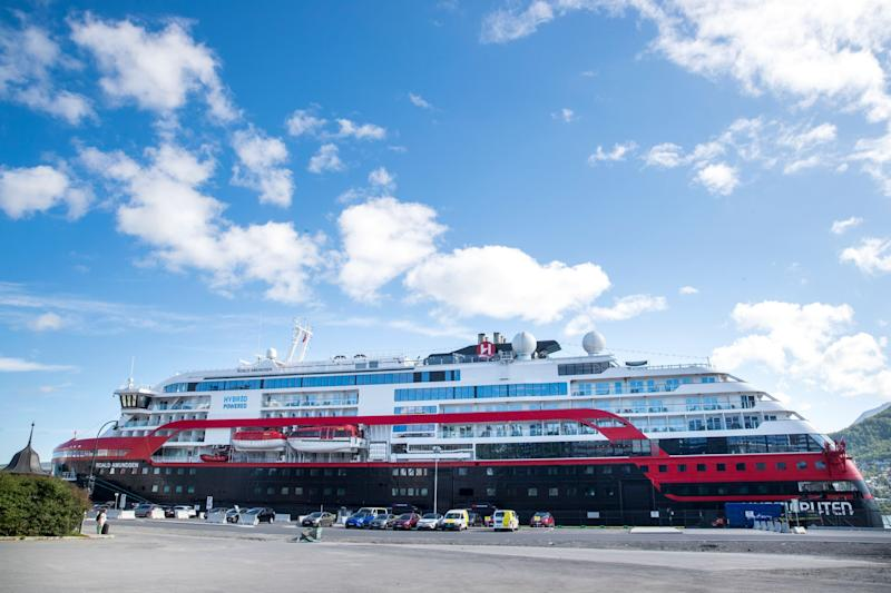 Hurtigruten's MS Roald Amundsen has been docked, empty of crew and passengers, after an outbreak of coronavirus - EPA-EFE/SHUTTERSTOCK