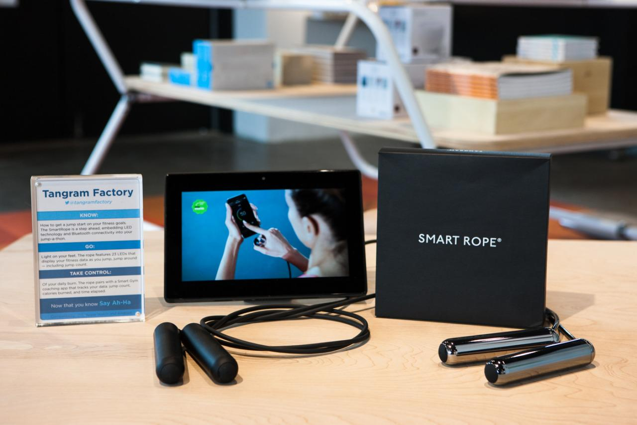 "<p>If you haven't tried jumping rope on your own or in a cardio fitness class yet, there's now a tech solution. Connect the rope with your smartphone for different interval training jump workouts, competitions, and general monitoring. The comfortable handles help you avoid the calluses that you may have gotten otherwise.</p><p>$90 at <a href=""http://store.tangramfactory.com/products/smart-rope-1"">Tangram Factory</a></p>"