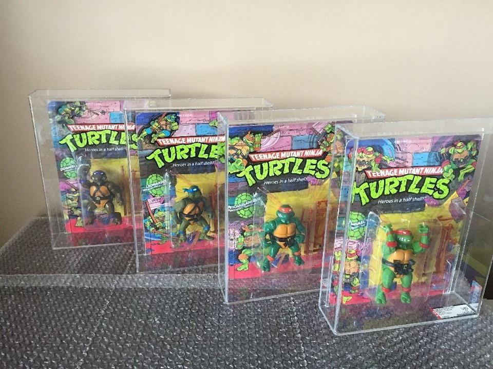 """<p>These """"heroes in a half shell"""" first made an appearance as comic book characters in 1984, and a wildly popular animated series soon followed in 1987. Pretty much every kids' birthday party we attended in the late 80s was Teenage Turtle-themed, and plenty of the action figures were gifted. In mint condition, <a href=""""https://go.redirectingat.com?id=74968X1596630&url=http%3A%2F%2Fwww.ebay.com%2Fitm%2F1988-PLAYMATES-TMNT-TEENAGE-MUTANT-NINJA-TURTLES-10-BACK-AFA-U80-HOLY-GRAIL-%2F322025591699%3Fhash%3Ditem4afa389393%253Ag%253AkuQAAOSwDuJW1v4T&sref=https%3A%2F%2Fwww.countryliving.com%2Fshopping%2Fantiques%2Fg3141%2Fmost-valuable-toys-from-childhood%2F"""" rel=""""nofollow noopener"""" target=""""_blank"""" data-ylk=""""slk:these figures"""" class=""""link rapid-noclick-resp"""">these figures</a> can go for about $550 a piece, with <a href=""""https://go.redirectingat.com?id=74968X1596630&url=http%3A%2F%2Fwww.ebay.com%2Fitm%2FApril-with-Fan-Club-AFA-85-Extremely-Rare-TMNT-Teenage-Mutant-Ninja-Turtles-%2F131742893768%3Fhash%3Ditem1eac7d06c8%253Ag%253A5ZMAAOSwyjBW2PvP&sref=https%3A%2F%2Fwww.countryliving.com%2Fshopping%2Fantiques%2Fg3141%2Fmost-valuable-toys-from-childhood%2F"""" rel=""""nofollow noopener"""" target=""""_blank"""" data-ylk=""""slk:rarer pieces"""" class=""""link rapid-noclick-resp"""">rarer pieces</a> being offered for as high as $5,000. </p>"""