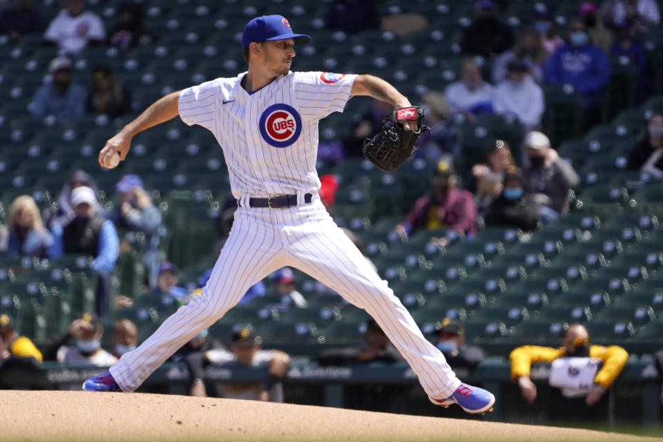 Chicago Cubs starting pitcher Zach Davies delivers during the first inning of a baseball game Friday, May 7, 2021, in Chicago. (AP Photo/Charles Rex Arbogast)