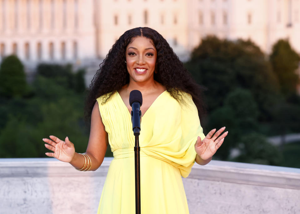 WASHINGTON, DC: In this image released on May 28, 2021, Country music star and Grammy-nominee Mickey Guyton performing the national anthem on stage at the Capital Concerts'