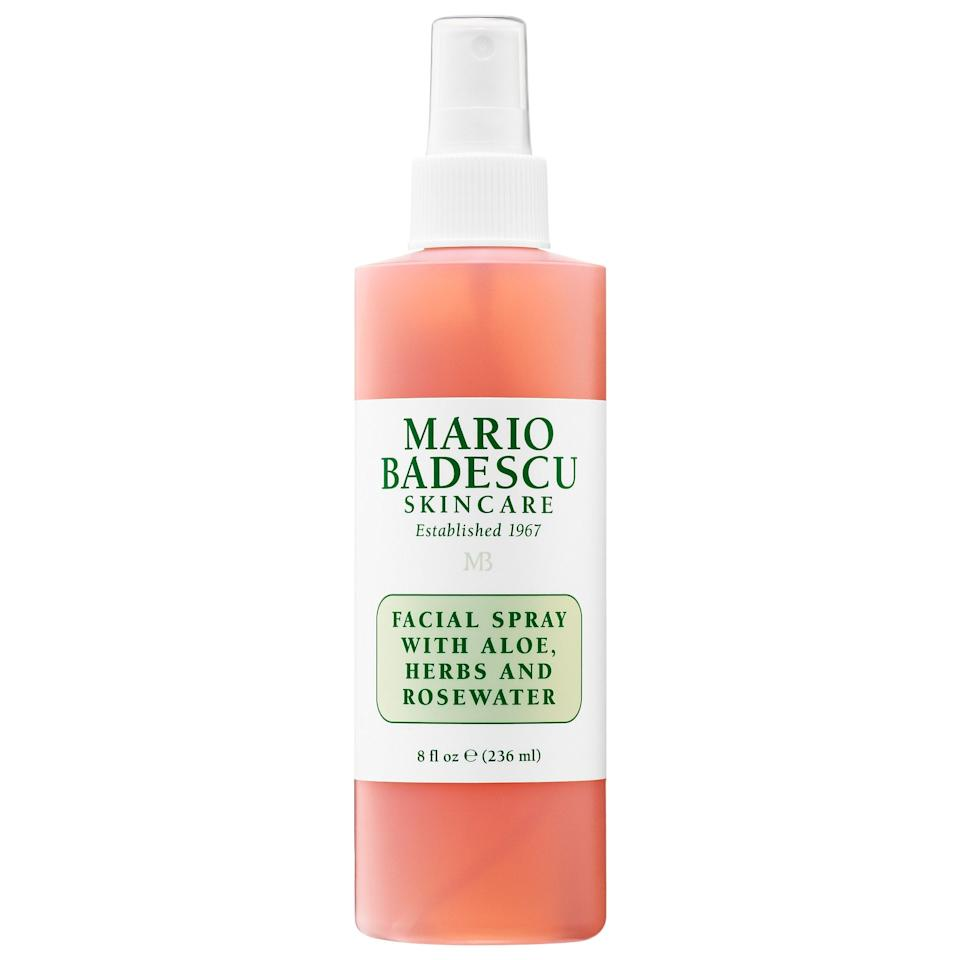 """<p>When your face needs a mid-day pick me up, this <a href=""""https://www.popsugar.com/buy/Mario-Badescu-Facial-Spray-Aloe-Herbs-Rosewater-534580?p_name=Mario%20Badescu%20Facial%20Spray%20with%20Aloe%2C%20Herbs%20and%20Rosewater&retailer=sephora.com&pid=534580&price=12&evar1=bella%3Aus&evar9=44024122&evar98=https%3A%2F%2Fwww.popsugar.com%2Fbeauty%2Fphoto-gallery%2F44024122%2Fimage%2F47039222%2FMario-Badescu-Facial-Spray-with-Aloe-Herbs-Rosewater&list1=beauty%20products%2Cacne%2Cmario%20badescu%2Cbeauty%20shopping%2Cskin%20care&prop13=mobile&pdata=1"""" rel=""""nofollow"""" data-shoppable-link=""""1"""" target=""""_blank"""" class=""""ga-track"""" data-ga-category=""""Related"""" data-ga-label=""""https://www.sephora.com/product/facial-spray-with-aloe-herbs-rosewater-P440482?icid2=mariolp_fromthebrand_010119_us_carousel:p440482:product"""" data-ga-action=""""In-Line Links"""">Mario Badescu Facial Spray with Aloe, Herbs and Rosewater</a> ($12) is the perfect treat. It's easy to spray on over your makeup without messing it up.</p>"""
