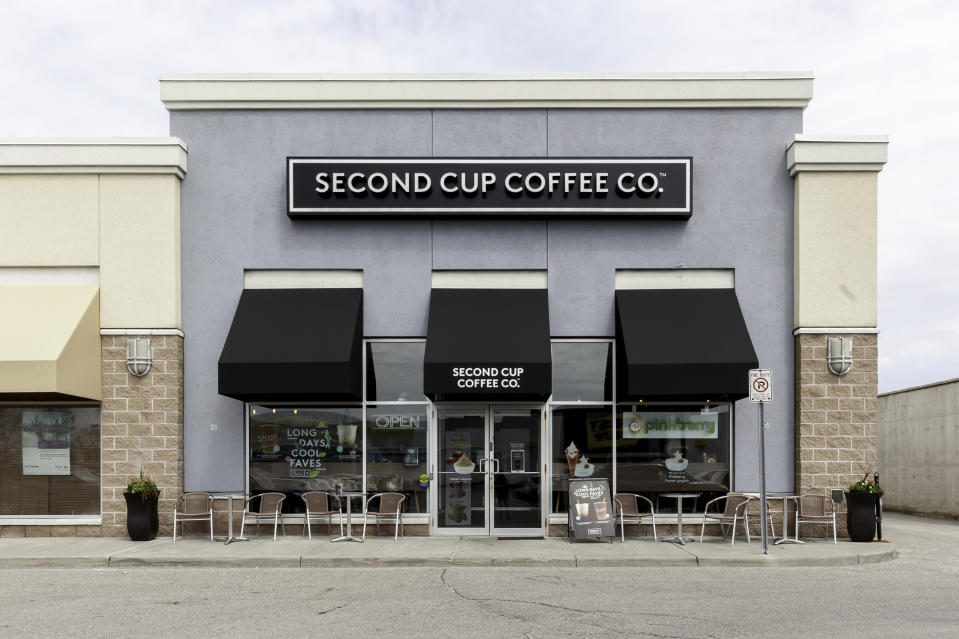 oronto, Ontario, Canada - May 06, 2018: A Second Cup Coffee shop in Toronto.