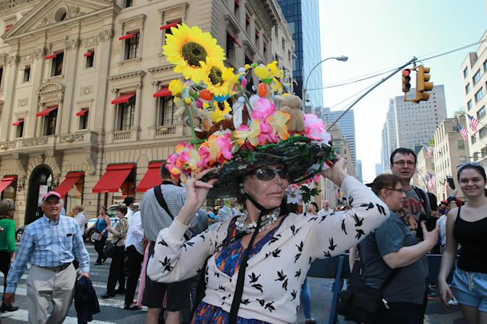 <p>Francine Feaz of Queens models her sunflower bonnet during the annual Easter Parade and Easter Bonnet Festival on the Fifth Avenue in New York on April 16, 2017. (Photo: Gordon Donovan/Yahoo News) </p>
