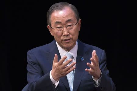 UN Secretary-General Ban reacts while answering questions after giving a speech on Syria at the Asia Society Policy Institute in Manhattan
