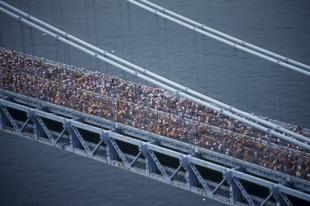 Some 40,000 runners will kick off the New York City Marathon on Sunday, which starts in Staten Island. (AP)