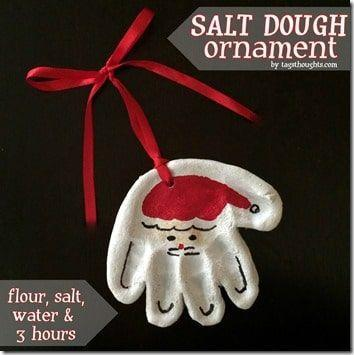 "<p>Kids' handprints pressed into easy salt dough make sweet Santas to hang on the tree as ornaments. You can also string through ribbons to make homemade gift toppers. To help them last through the years, spray the project with sealant when it's all done.</p><p><em><a href=""https://typicallysimple.com/salt-dough-ornament/"" rel=""nofollow noopener"" target=""_blank"" data-ylk=""slk:Get the tutorial at Typically Simple»"" class=""link rapid-noclick-resp"">Get the tutorial at Typically Simple»</a></em></p>"
