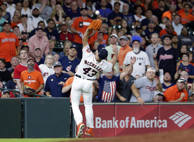 Houston Astros starting pitcher Lance McCullers Jr. (43) makes the infield catch on the pop up by Cleveland Indians Jose Ramirez during the fourth inning of a baseball game Sunday, May 20, 2018, in Houston. (AP Photo/Michael Wyke)