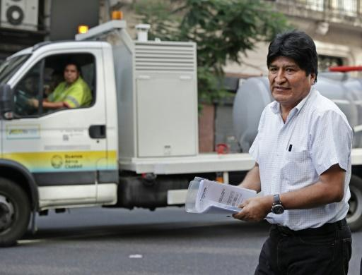 Former Bolivia president Evo Morales, pictured in Argentina in January, is standing for election to the Senate in May's vote
