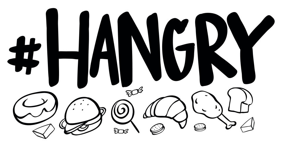 Word expression for hangry with many food illustration