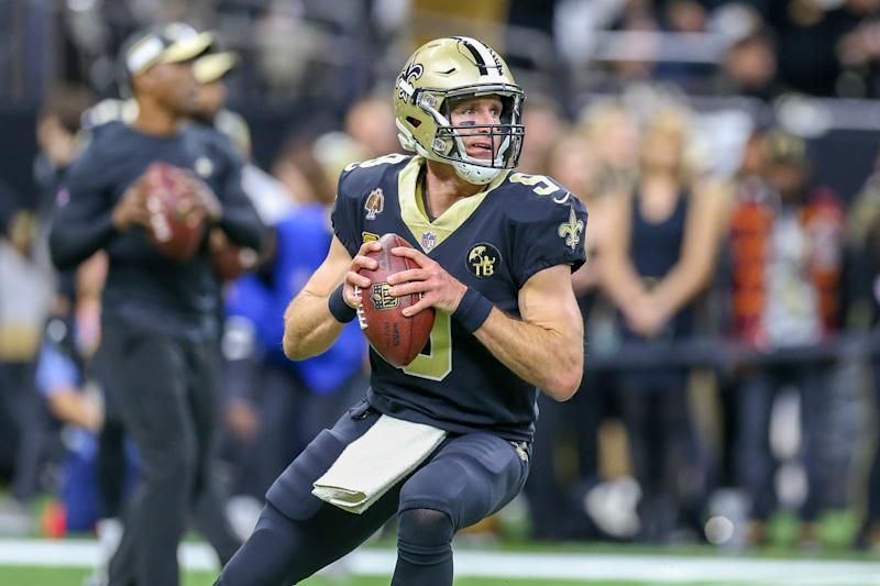 NEW ORLEANS, LA - JANUARY 20: New Orleans Saints quarterback Drew Brees (9) warming up before the NFC Championship Football game between the Los Angeles Rams and the New Orleans Saints on January 20, 2019 at the Mercedes-Benz Superdome in New Orleans, LA. (Photo by Jordon Kelly/Icon Sportswire via Getty Images)