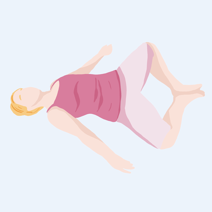 Bed Yoga Pose: Butterfly hip stretch pose