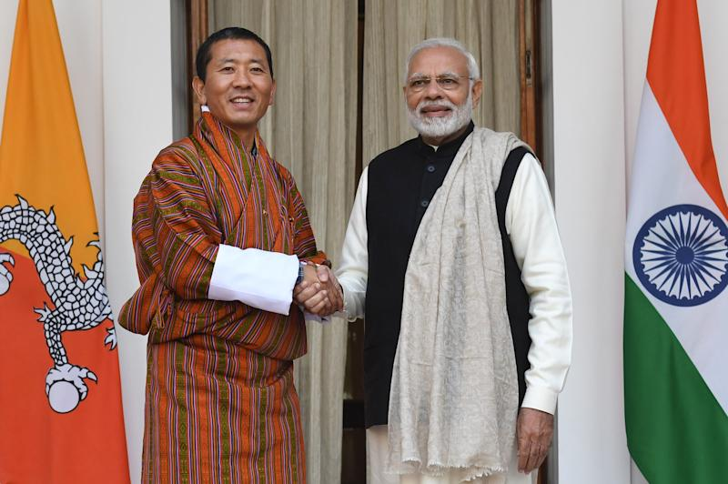 Prime Minister Narendra Modi with Bhutan's Prime Minister Lotay Tshering in New Delhi on December 28, 2018.  (Photo: PRAKASH SINGH via Getty Images)