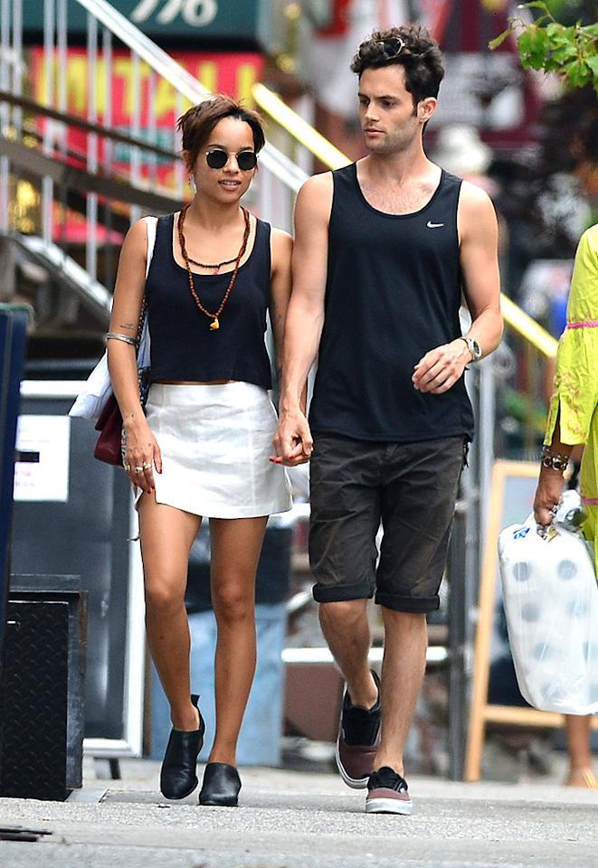 "<p class=""MsoNormal"">Hipster sweethearts Zoe Kravitz and Penn Badgley donned matching black tank tops as they tried to beat the New York heat in the East Village this weekend. Badgley is wrapping up the last season of his NYC-based show, ""Gossip Girl."" (7/14/12)</p>"