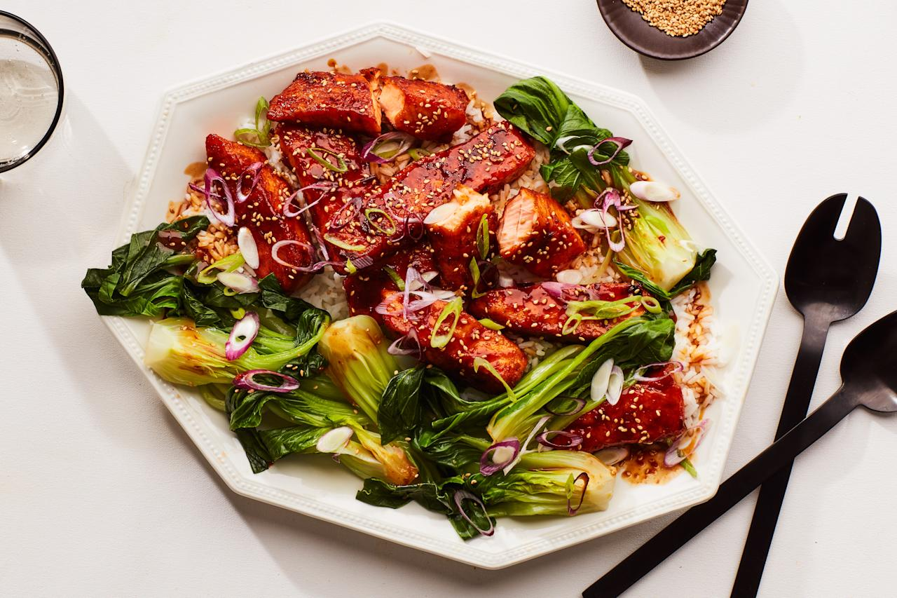 "You don't have to treat your salmon gingerly when making this easy weeknight recipe. Just toss large pieces of salmon in cornstarch before cooking and they'll develop a delicate crust that really grabs onto the spicy-sweet teriyaki glaze. <a href=""https://www.epicurious.com/recipes/food/views/spicy-salmon-teriyaki-with-steamed-bok-choy?mbid=synd_yahoo_rss"">See recipe.</a>"
