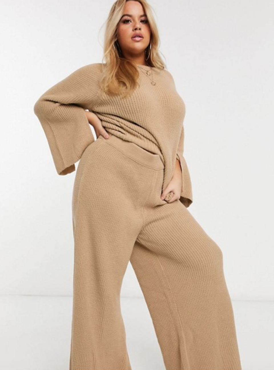 "<br> <br> <strong>ASOS CURVE</strong> Curve Premium Knitted Sweater Set, $, available at <a href=""https://go.skimresources.com/?id=30283X879131&url=https%3A%2F%2Fwww.asos.com%2Fus%2Fasos-curve%2Fasos-design-curve-lounge-premium-knitted-sweater-and-pants-set%2Fgrp%2F27999"" rel=""nofollow noopener"" target=""_blank"" data-ylk=""slk:ASOS"" class=""link rapid-noclick-resp"">ASOS</a>"