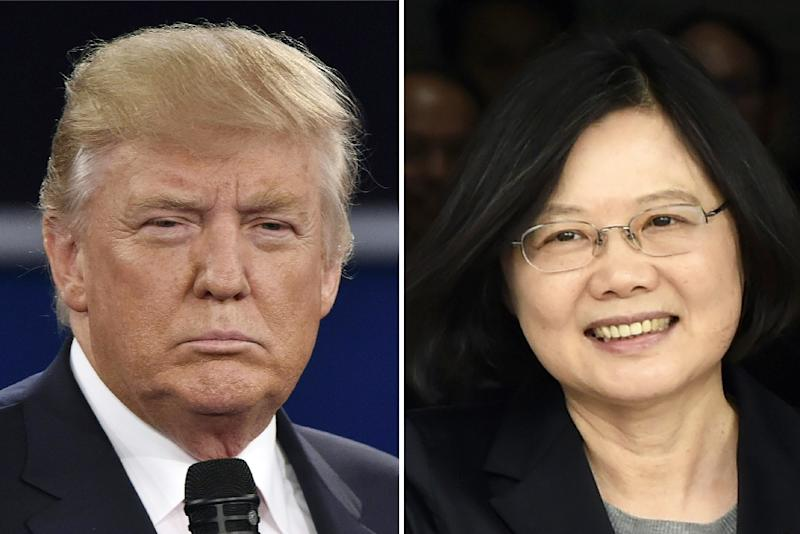 US President Donald Trump angered Beijing when he broke with decades of foreign policy protocol to speak with Taiwan's President Tsai Ing-wen in November 2016 (AFP Photo/)