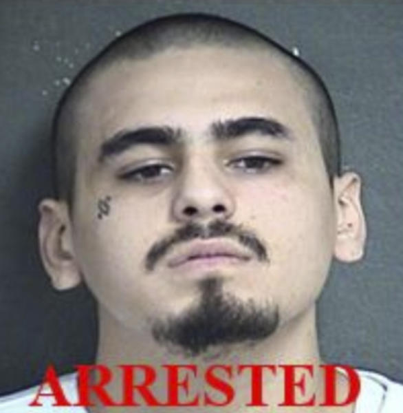 This undated photo provided by the Kansas City Kansas Police Department shows Javier Alatorre. Alatorre, one of the two men accused of opening fire inside a Kansas bar early Sunday, Oct. 6, 2019, was arrested Sunday afternoon while the other remained at large, police said. Alatorre and Hugo Villanueva-Morales were each charged with four counts of first-degree murder, police in Kansas City, Kansas, said in an early Monday, Oct. 7 release. (Kansas City Kansas Police Department via AP)