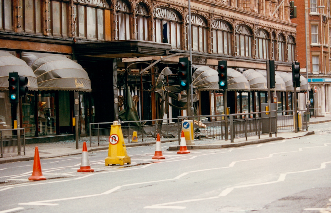 <p>The IRA set off a car bomb outside department store Harrods in London, killing six people and injuring 90. A police car that approached the vehicle before it exploded took the brunt of the blast, preventing further casualties. (Pic: Rex) </p>
