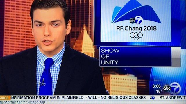 Chicago TV station confuses PyeongChang with P.F. Chang's. (Handout)