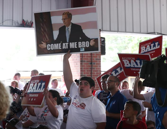 Supporters of Sen. Mitch McConnell attend the Fancy Farm political picnic Aug. 3, 2019, in Fancy Farm, Ky.