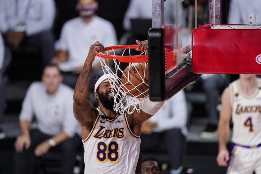 Los Angeles Lakers' Markieff Morris (88) dunks the ball against the Miami Heat during the first half.