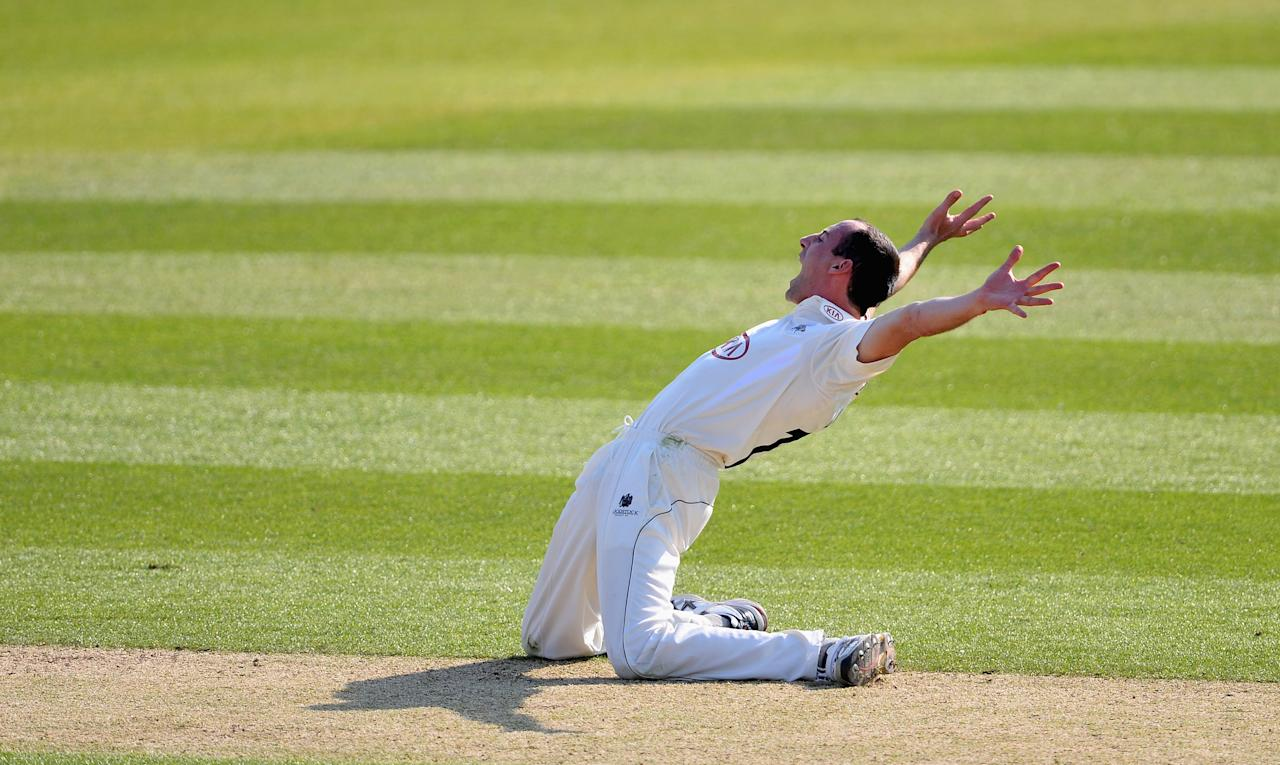 LONDON, ENGLAND - APRIL 25:  Tim Linley of Surrey appeals desperately but unsuccessfully for lbw against Ed Joyce of Sussex during day two of the LV County Championship Division One match between Surrey and Sussex at The Kia Oval on April 25, 2013 in London, England. (Photo by Mike Hewitt/Getty Images)