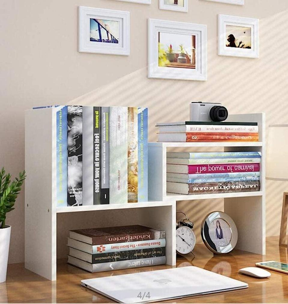 <p>Combat the stack of books that's piling high with this <span>Expandable Wood Desktop Bookshelf</span> ($27).</p>