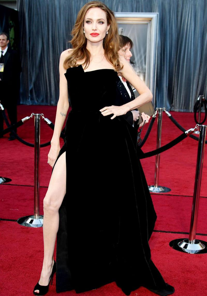 Her leggy display was rather reminiscent of Angelina Jolie's signature look she made famous at the Oscars back in 2012. Source: Getty