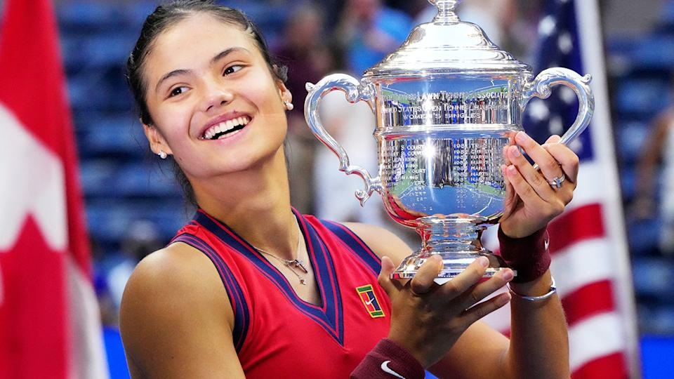 Emma Raducanu, pictured here after winning the US Open.