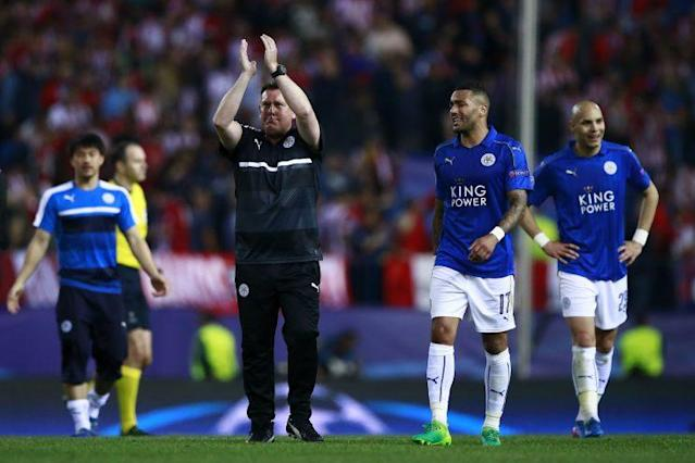 Craig Shakespeare applauds the travelling Leicester City fans