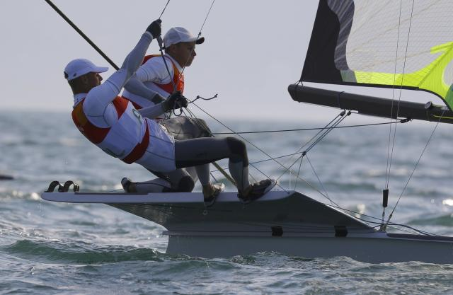 2016 Rio Olympics - Sailing - Preliminary - Men's Skiff - 49er - Race 7/8/9 - Marina de Gloria - Rio de Janeiro, Brazil - 15/08/2016. Lukasz Przybytek (POL) of Poland and Pawel Kolodzinski (POL) of Poland compete. REUTERS/Brian Snyder FOR EDITORIAL USE ONLY. NOT FOR SALE FOR MARKETING OR ADVERTISING CAMPAIGNS.