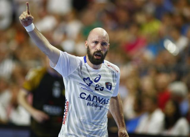 Handball - Men's EHF Champions League Final - HBC Nantes vs Montpellier HB - Lanxess Arena, Cologne, Germany - May 27, 2018. Vid Kavticnik of Montpellier HB reacts after scoring. REUTERS/Thilo Schmuelgen