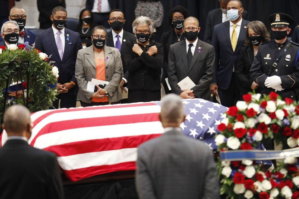<p>People gather at the casket of the late Rep. John Lewis, D-GA, a key figure in the civil rights movement and a 17-term congressman from Georgia, as he lies in state in the Rotunda of the US Capitol in Washington, DC, on July 27, 2020.</p>