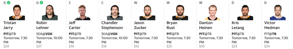 There won't be too many Penguins stacks in the Yahoo Cup. (Yahoo Fantasy)